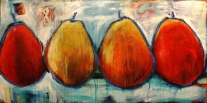 """Together"" painting by Misty Oliver Foster, pears, pear painting"