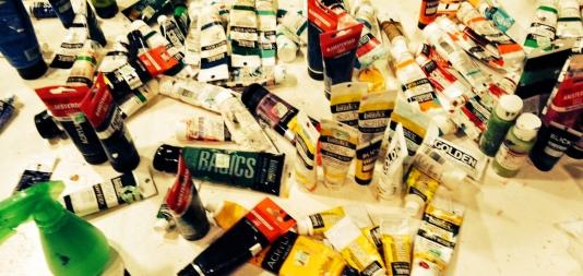 sorting through the acrylics