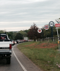 Saturday traffic in a town with a population of 90: rediculously slow