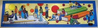 """Connected"" mural in Frisco High School Library (circulation desk), approx 24 x 8'"