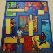 """Inquiring Minds"" mural in Frisco High School Library (entry), 10.5 x 10.5'"