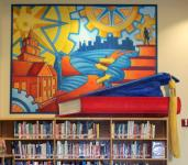 """Outlook on the Future"" mural in Frisco High School Library (college & career), 8 x 9'"