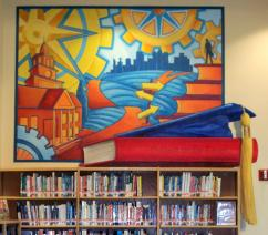 """""""Outlook on the Future"""" mural in Frisco High School Library (college & career), 8 x 9'"""