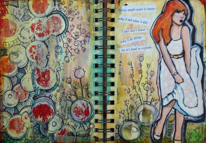 """Hard to Explain"" art journal by Misty Oliver-Foster"